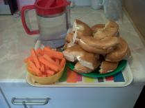 3pm snack - sweet cheese and dried apricots bagels with carrots